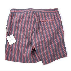 "Onia Swim - Onia Alec 7"" Adjustable Stripe Swim Trunks L"